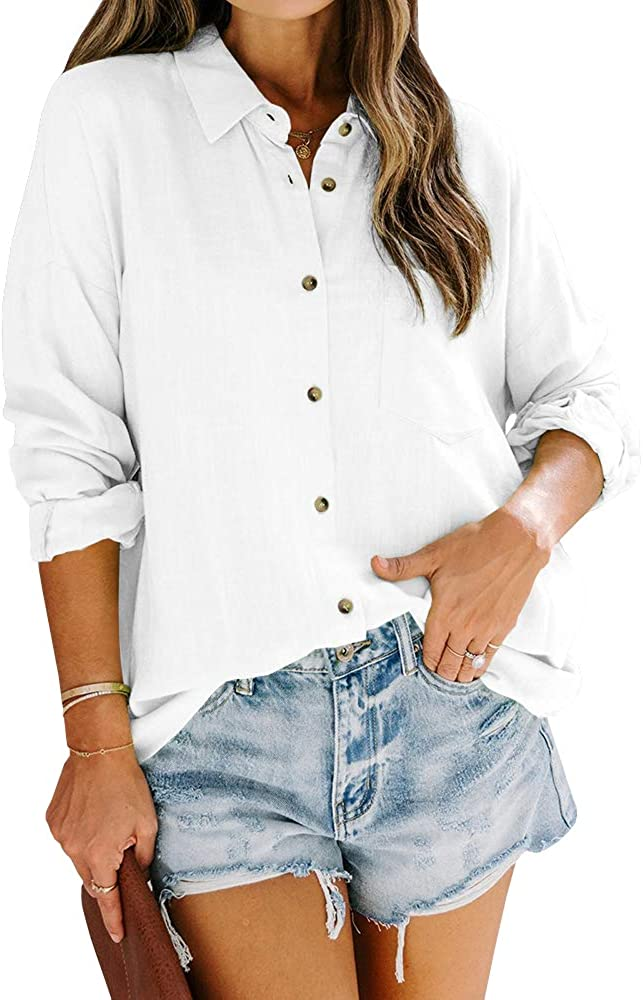 Womens Button Down Work Shirts Fall Long Sleeve Slub Cotton Casual Collared Business Blouse Tops