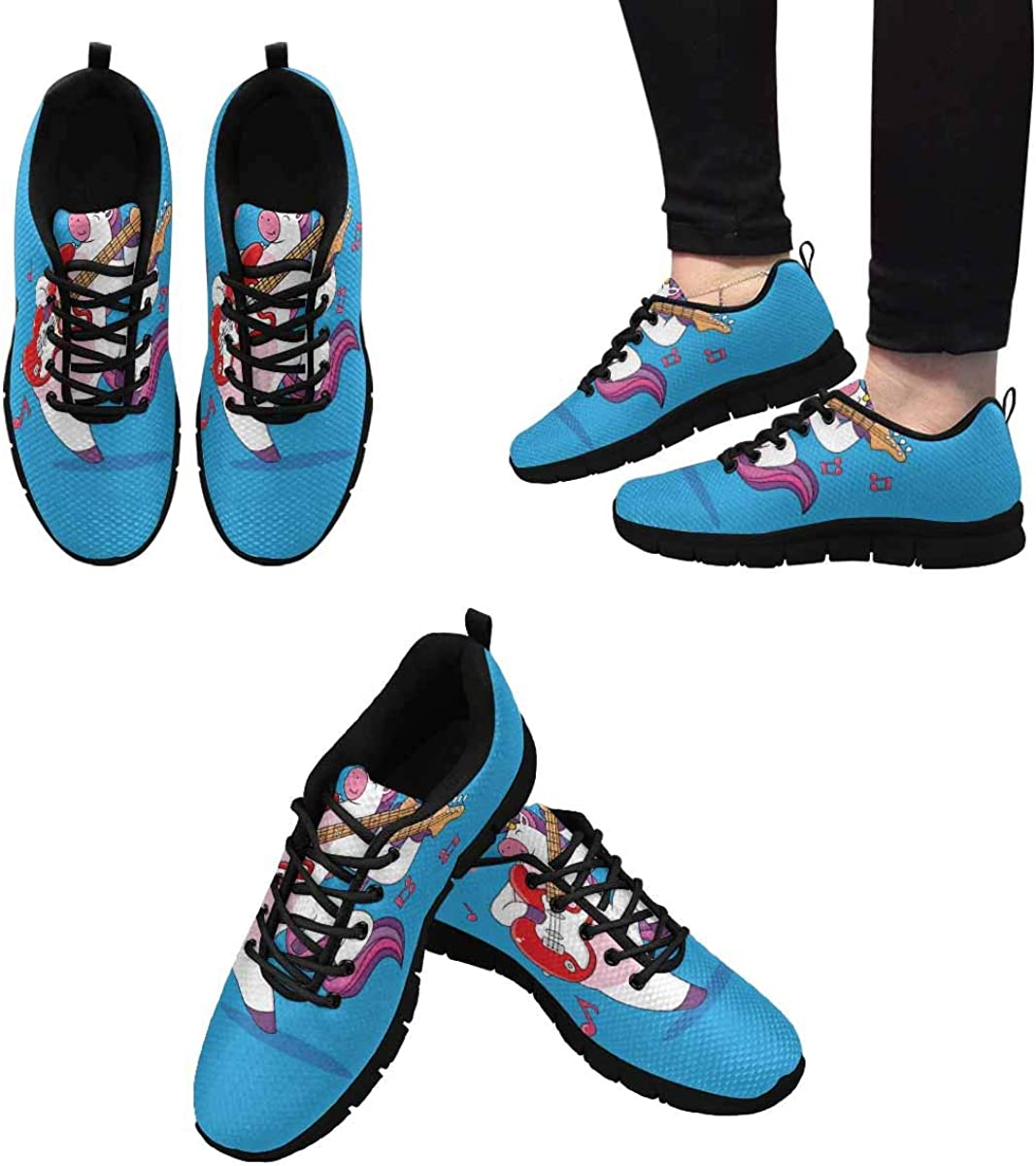 INTERESTPRINT Cartoon Unicorns are Playing Guitar Women's Lightweight Athletic Casual Gym Sneakers