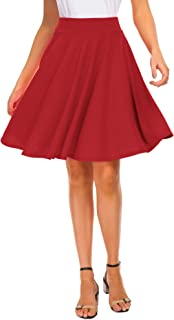 Best Women Stretch Waist Flared Mini Skater Skirt Casual Pleated Skirts Review