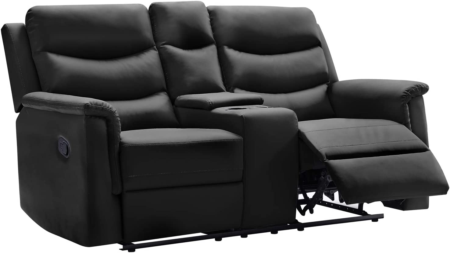 Double Reclining with trust Console PU RV Fau Sofa Furniture Love-seat Raleigh Mall
