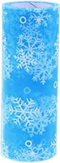 Whitelotous 10 Yards Snowflake Glitter Mesh Tulle Roll Tutu Dress Wedding Decor Fabric DIY Crafts Party Supplies(Blue)