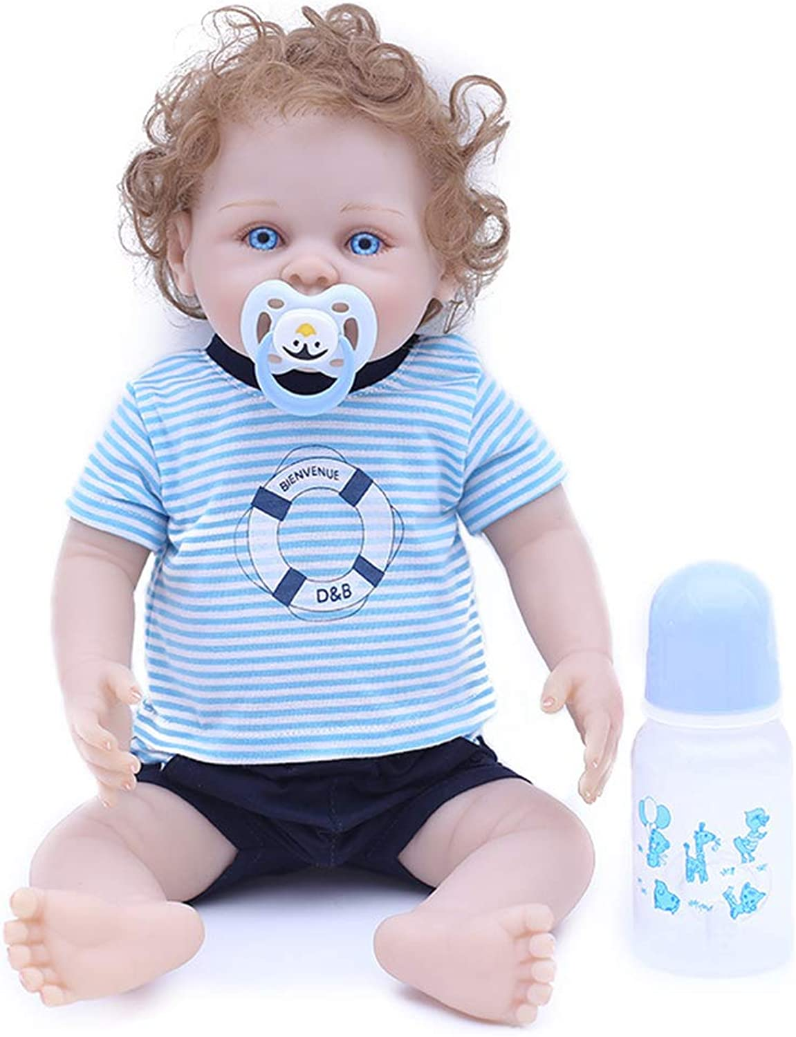 JUNMAO 18 Inch Lifelike Reborn Baby Dolls Boy Handmade Soft Silicone Realistic Newborn Baby Doll with Soccer Clothes & Accessories, Gifts and Playmates for Kids Age 3+ (bluee, 18'')