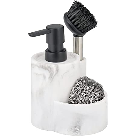 mDesign Decorative Marble Kitchen Sink Countertop Pump Bottle Storage Caddy includes - Liquid Hand Soap Dispenser and Brush, Holds and Stores Sponges, Scrubbers and Brushes - Marble