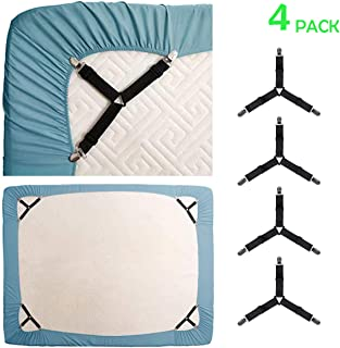 KALLC Bed Sheet Holder Straps, 4 Pack Adjustable Triangle Elastic Mattress Sheet Clips Mattress Cover Holder Fasteners Bed Sheet Fasteners Heavy Duty Grippers Clips Keeping Sheets Place for Bedding