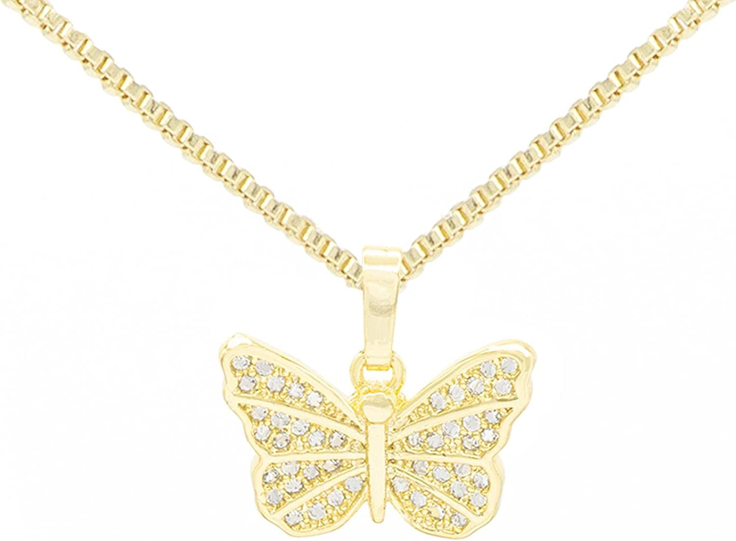 """BEBERLINI Butterfly Pendant 14K Gold Filled Rope Box Cuban Chain Necklace Set Lobster Clasp Fashion Cubic Zirconia Jewelry Gift CZ Charms for Women Girls Teens 18"""" 20"""" 24"""""""