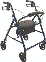 Wave Medical Deluxe Rollator Folding Walker with Wheels in (Blue)