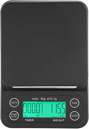 3KG/0.1g Electronic LCD Digital Kitchen Food Scale Drip Coffee Weighing with Timer(Green)