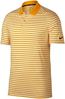 Nike New DRI FIT Victory Stripe Golf Polo University Gold/White/Black Large