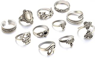 Niome 11 Pcs/Set Women Bohemian Vintage Geometry Gemstone Open Finger Rings Hollow Carved Punk Knuckle Ring Jewelry Gifts