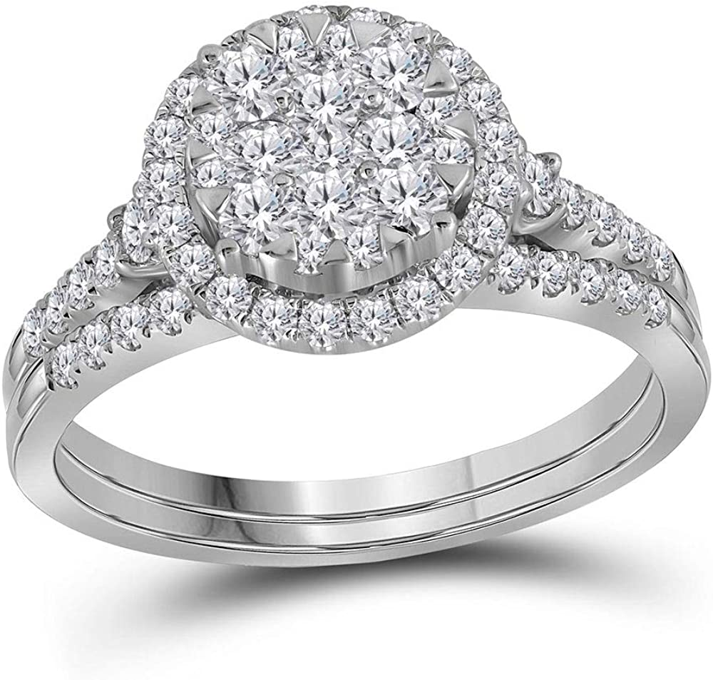 14kt White Award-winning store Gold Round Diamond Cluster Ring Ranking TOP5 Halo B Wedding Bridal