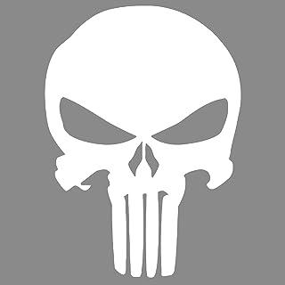 Punisher Aufkleber Auto Sticker Autosticker Autoaufkleber Decal War Zone Totenkopf Skull (10 x 14 cm, Weiss)