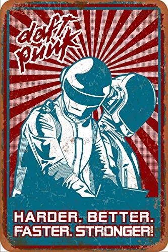 Daft Punk Harder Better Faster Stronger Cartel Retro de hojalata, Cartel Vintage, Placa, decoración de Pared para Bar, cafetería, jardín, Dormitorio, Oficina, Hotel, 20X30 cm