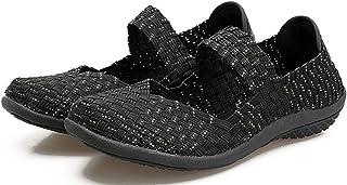 AIRAVATA Chaussures pour Femmes Été Glisser sur Respirant Poids Léger Mode Chaussures de Marche