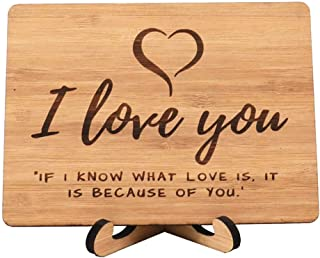 Zuaart I Love You Greeting Card Handmade With Real Bamboo Wood and Stand- I know what love is it because of you - perfect for valentine day