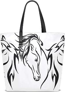 XiangHeFu Damen Handtasche Pferd Gemälde schwarz weiß Polyester Stoff Schultertasche