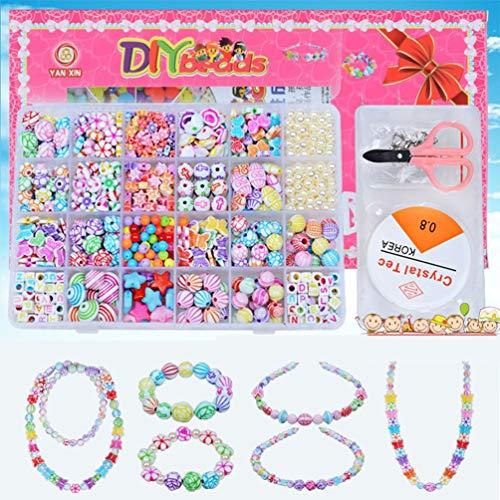 24 Girds Niños Niñas Juguetes de Bricolaje Juego de Cuentas de Cadena Collar Pulsera Kit de construcción (Perla Blanca de Porcelana Multicolor)