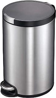 EKO Artistic 30-Liter, Fingerprint Resistant Brushed Stainless Steel Finish, Round Step Waste Bin with Soft Close Lid, Dur...