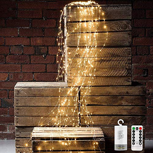 8 Modes 200 LED String Fairy Lights, 10 Strand Cascading Waterfall Lights Battery Operated Waterproof String Lights for Outdoor & Indoor Watering can Lights Holiday Party Decorations(Warm White)