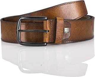 LINDENMANN LM leather belt for men leather belt made of full grain cow leather, 40 mm wide and 3,5 mm - 4 mm strong, adjus...