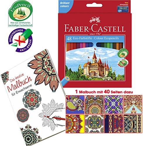 Faber-Castell 120148 - Eco Farbstifte, 48er Kartonetui inklusive Spitzer … (Einzeln + Malbuch 979257)