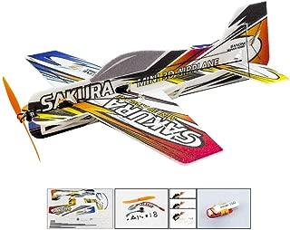 Upgrade 3D EPP Plane SAKURA Aerobatic Flying Airplane, 420mm Durable Foam RC Plane Kit to Build, DIY Electric 4CH Radio Controlled Airplane RC Hobby Kits (KIT+Motor+ESC+Servo+Battery, EPP SAKURA)
