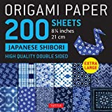 """Origami Paper 200 sheets Japanese Shibori 8 1/4"""" (21 cm): Extra Large Tuttle Origami Paper: High Quality, Double-Sided Sheets (12 Designs & Instructions for 6 Projects Included)"""