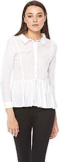 lee Cooper Shirt Neck Ruffle & Peplum Top For Women