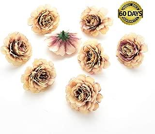 Silk Flowers in Bulk Wholesale Artificial Silk Rose Flower Head Decorative DIY Fake Flowers for Wedding Home Party Garden Decoration Vases Decor Supplies 30PCS 4.5cm (Brown)