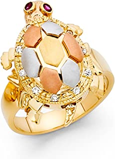 CZ Turtle Ring Solid 14k Yellow White Rose Gold Band Good Luck Satin & Polished Finish Tri Color
