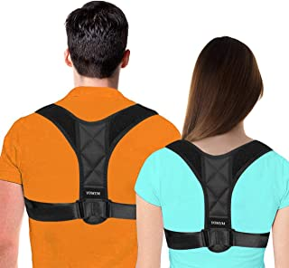 YOMYM Corrector De Postura, Cinturones De Soporte para Alivio del Dolor En La Parte Superior E Inferior De La Espalda, con Tirantes Elásticos Suaves Y Ajustables para Hombres Y Mujeres, Negro