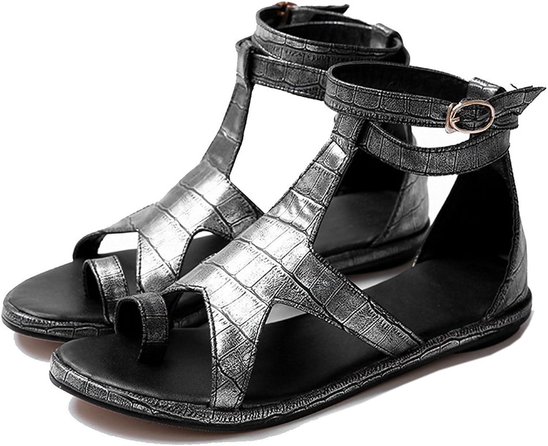 KingRover Women's Summer Open Toe T-Strap Slip On Comfortable Gladiator Flats Sandals