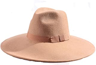 Wide Stiff Brim Wool Hat Women Pure Wool Winter Bowler Fedora Hat