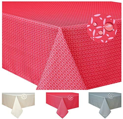 Home Direct Mantel Antimanchas, Resistente a Líquidos 100% poliéster, Rectangular 140 x 200cm Rojo