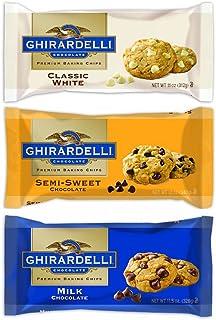 Ghirardelli Chocolate Premium Baking Chips Bundle: 1 Bag Each of Semi-sweet Chocolate Chips, Milk Chocolate Chips & White ...