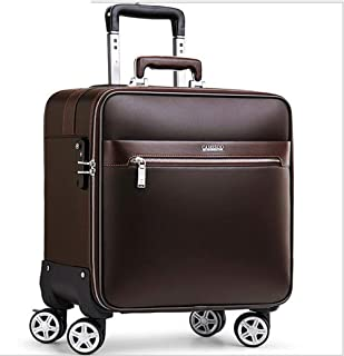 Trolley Case 16 inch Suitcase Carry On Luggage Lightweight PU Trolley case 4 Wheel Spinner Suitcase Hard Cabin Travel Case Hand Luggage Travel Luggage Carry-Ons (Color : Brown)