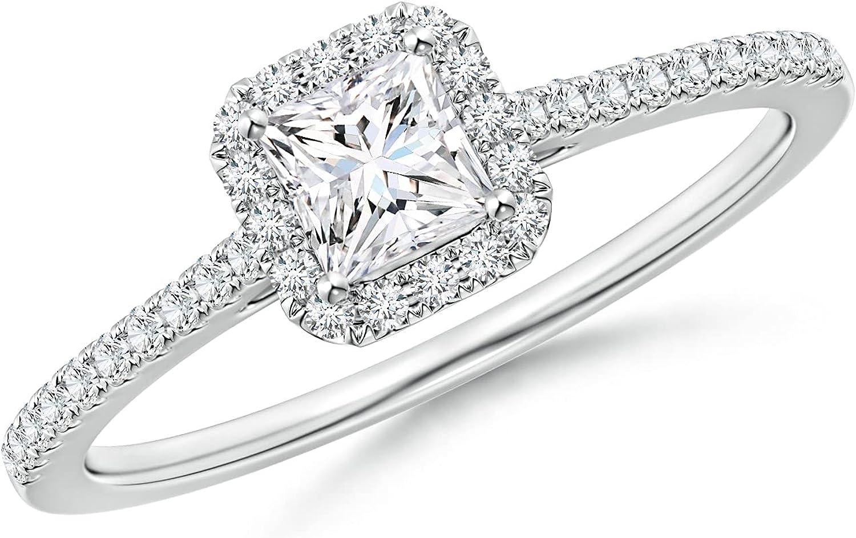 0.6 Carat Princess Cut lowest price New York Mall Natural Diamond Wedding Band F Rings Halo