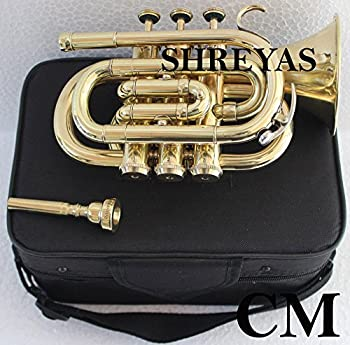 Shreyas Pocket Trumpet B-Flat Brass Finishing With Free Mouthpiece + Case