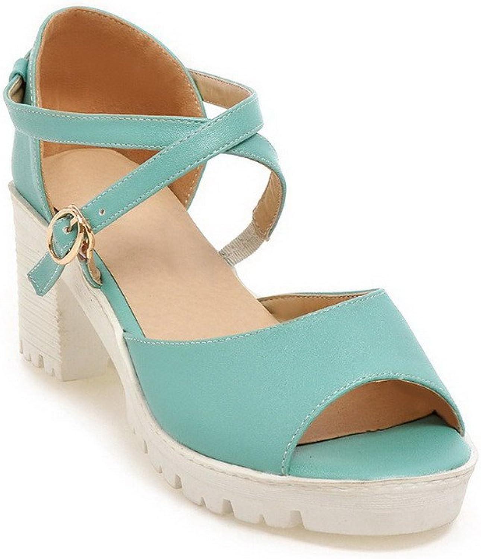AllhqFashion Women's Solid Soft Material Kitten Heels Buckle Open Toe Sandals
