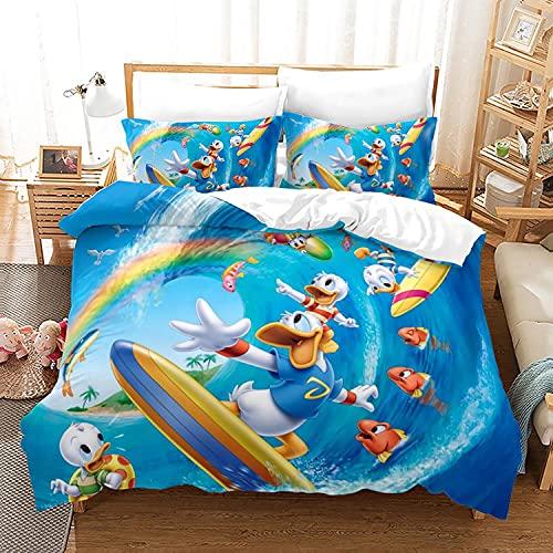 LKFFHAVD Disney Donald Duck - Juego de ropa de cama (funda de edredón y funda de almohada de 135 x 200 cm), diseño de pato Donald
