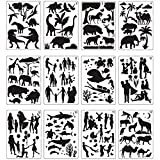 12 Sheets Animal Stencils for Painting Drawing Template Reusable Plastic Stencils People Plants Animals Pattern 70 Different Patterns for Children Creation, Painting Education