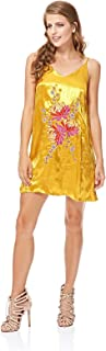 GLAMOROUS Women's Acid Yellow Satin Embroidered Slip Dress - S