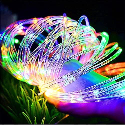 WLALLSS Cadena Luces LED cuerhadas, 10M 100LED Tiras cuerpara Interiores Luces alimentadas por USB 8 Modos Luces Hadas Impermeables para jardín, Patio, Navidad (cálido)
