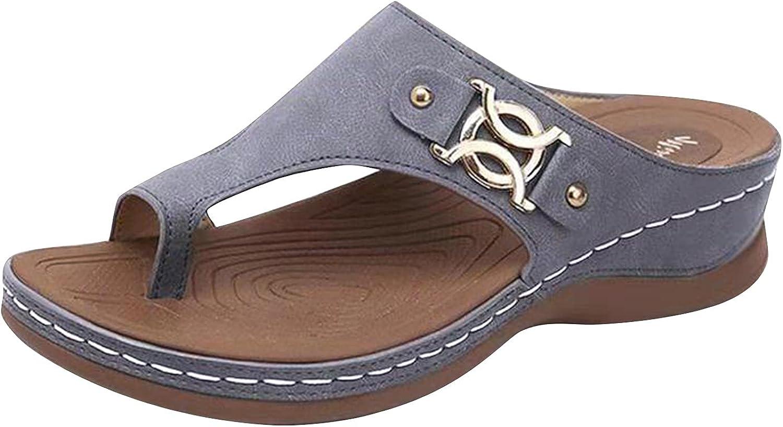 RealKing 2021 New Summer Slope Heel - Sandalias bordadas para mujer, diseño retro