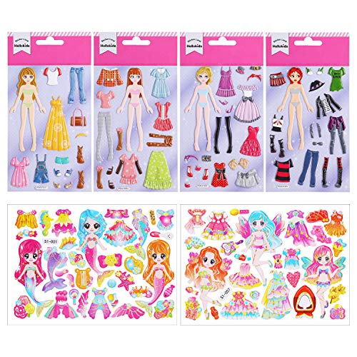 HIFOT Anziehpuppen Aufkleber Prinzessin Mädchen, Puzzle 3D Anziehpuppe, Geschwollen Stickers Meerjungfrau Mode-Design Party Geburtstag Kreatives Spielzeug
