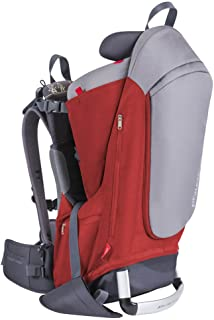 phil&teds Escape Child Carrier Frame Backpack, Red – Height Adjustable Body-Tech Harness - Articulating Dual Core Waist Belt – Includes Hood, Daypack, Change Mat – 30L Storage – 2 Year Guarantee