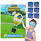TOYOYO Video Game Party Games for Birthday Party, Video Game Party Supplies Decorations for boys Include a Large party poster and 24 Supply Drop Box Stickers