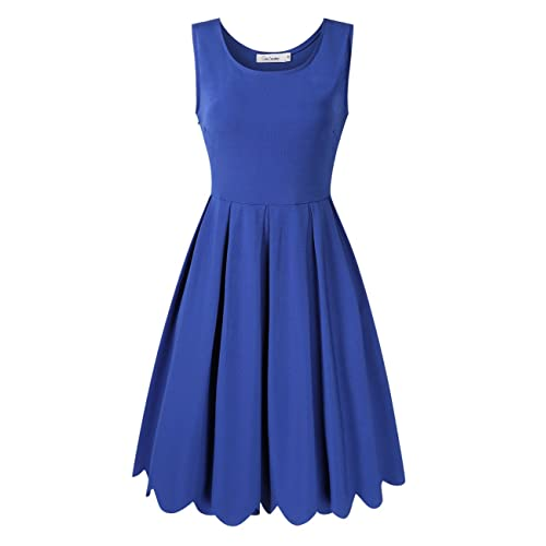 c4f0509e1c99 GlorySunshine Women's Vintage Scallop Pleated A Line Slim Fit Casual  Cocktail Party Dress