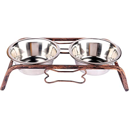 NAAZ PET SUPPLIES Stainless Steel Wrought Iron Dog Bowl Stand Collection Rustic Bone Diner Food and Water Bowls with Iron Stand for Medium Size for Dogs and Cats (900ml X 2)