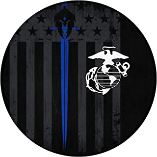 XTtadco Non-Slip Soft Floor Mat Home Decor Marine Corps Thin Blue Line Flag Round Area Rug Living Room Bedroom Study