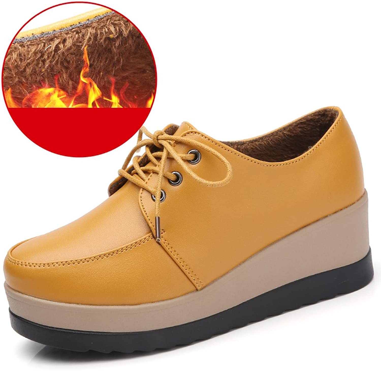 Amint Women's Leather Comfort Walking Round-Toe Lace-up Platform Wedge Oxford shoes